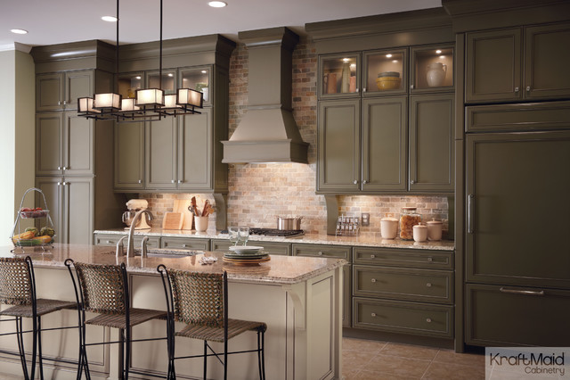 Kraftmaid Maple Cabinetry In Sage And Mushroom With Cocoa Glaze