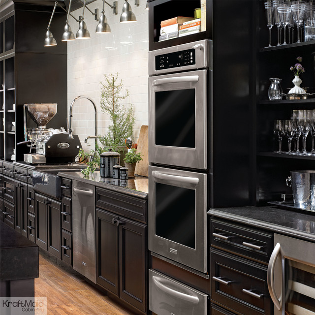 Kraftmaid maple kitchen cabinetry in onyx contemporary for Black onyx kitchen cabinets
