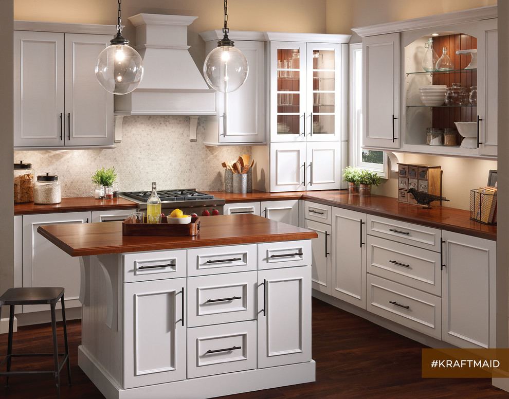 Kraftmaid Modest White Country Kitchen, White Country Kitchen Cabinets