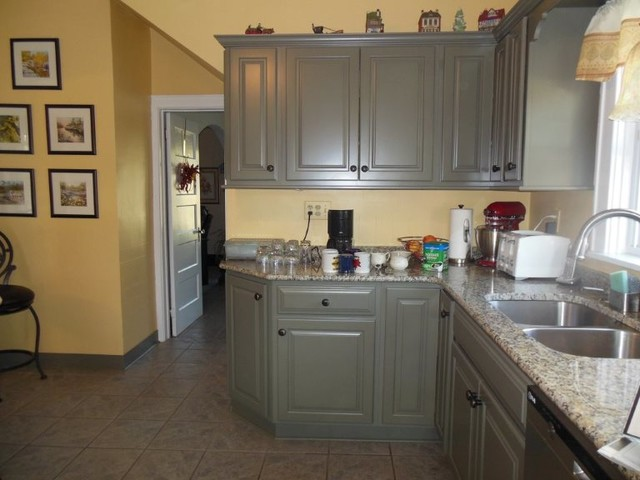 half overlay cabinets. kraftmaid montclair maple square half overlay sage finish santa cecilia granite traditional-kitchen cabinets
