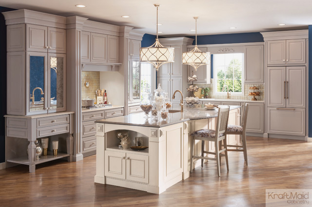 Kraftmaid Pebble Grey And Canvas Paints Transitional Kitchen