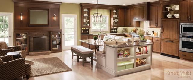 KraftMaid: Raised Door In Hazel U0026 Chai With Cocoa Glaze Transitional Kitchen