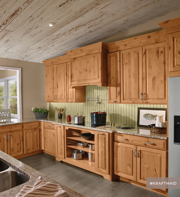 Knotted Oak Kitchen Cabinets: KraftMaid: Rustic Alder Kitchen Cabinetry In Natural