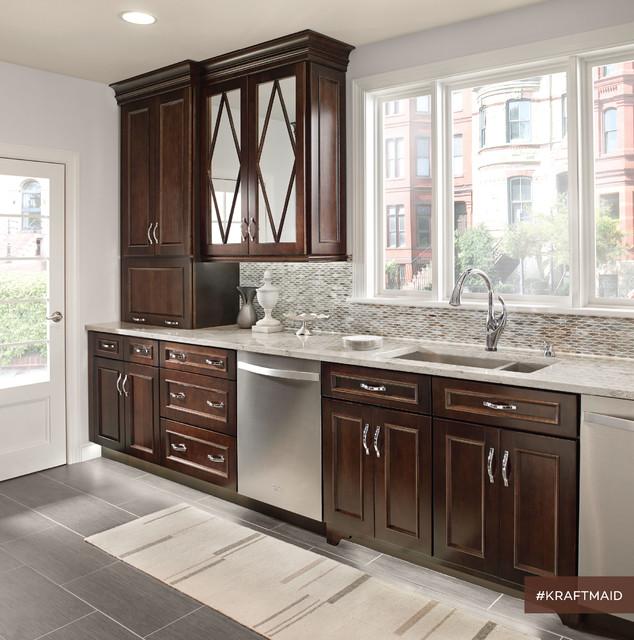 KraftMaid: Traditional Kitchen With Dark Kitchen Cabinets