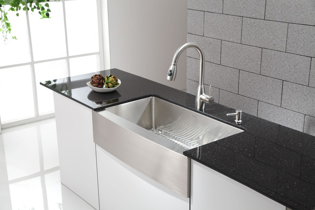 Kraus KHF200 36 apron front sink with KPF2130 stainless