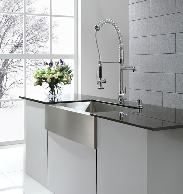 Industrial Style Kitchen Faucet: Kraus KHF200-36 Farmhouse Kitchen Sink And KPF1602