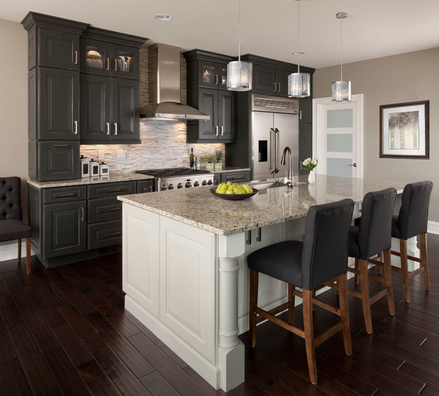 KSI Designer Jim McVeigh Transitional Kitchen Detroit By - Grey kitchen cabinets with wood floors