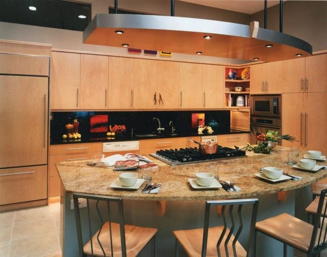 """L"" Shape Kitchen with Island Seating contemporary-kitchen"