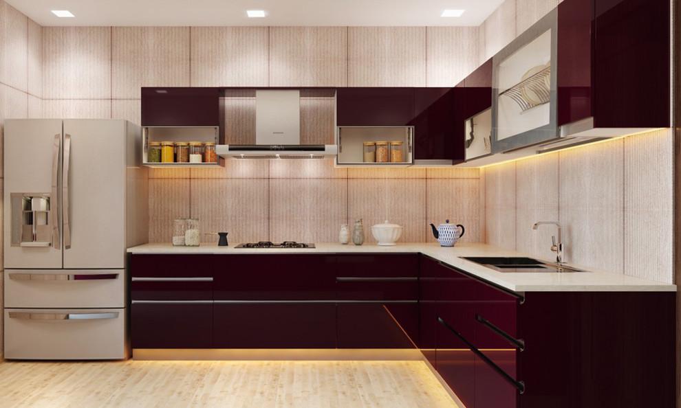 L Shaped Modular Kitchen Indian Kitchen Delhi By Shadhili Export Opc Pvt Ltd
