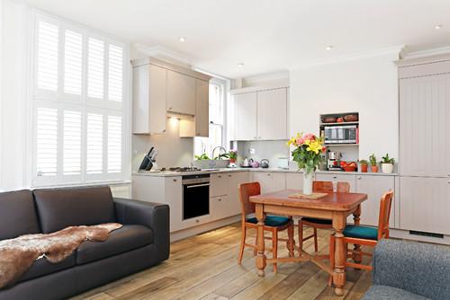L shaped transitional kitchen