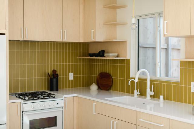 L Shaped Yellow Kitchen Tiles Backsplash Scandinavian Kitchen Los Angeles By Fireclay Tile Houzz Uk