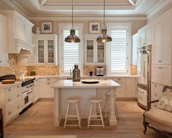White Appliances, Beige Backsplash, White Cabinets, Yellow Cabinets