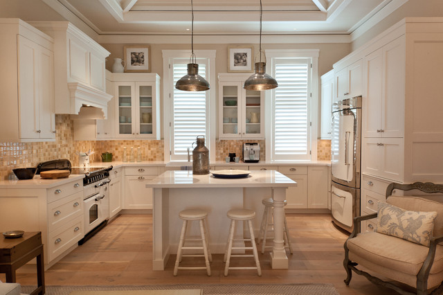 traditional u shaped kitchen idea in miami with shaker cabinets white cabinets beige