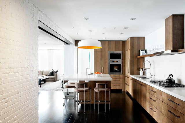 Superior Inspiration For An Industrial Kitchen Remodel In New York With Flat Panel  Cabinets, Dark