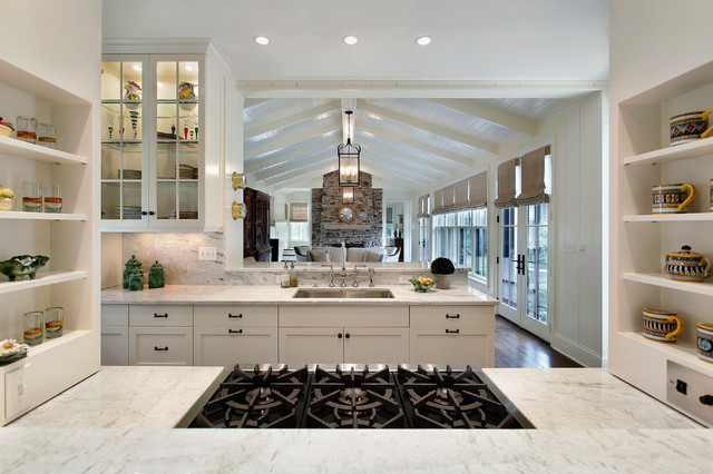 Traditional enclosed kitchen idea in Chicago with glass-front cabinets and  white cabinets