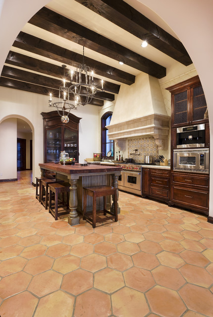 Lake Conroe Spanish rustic-kitchen