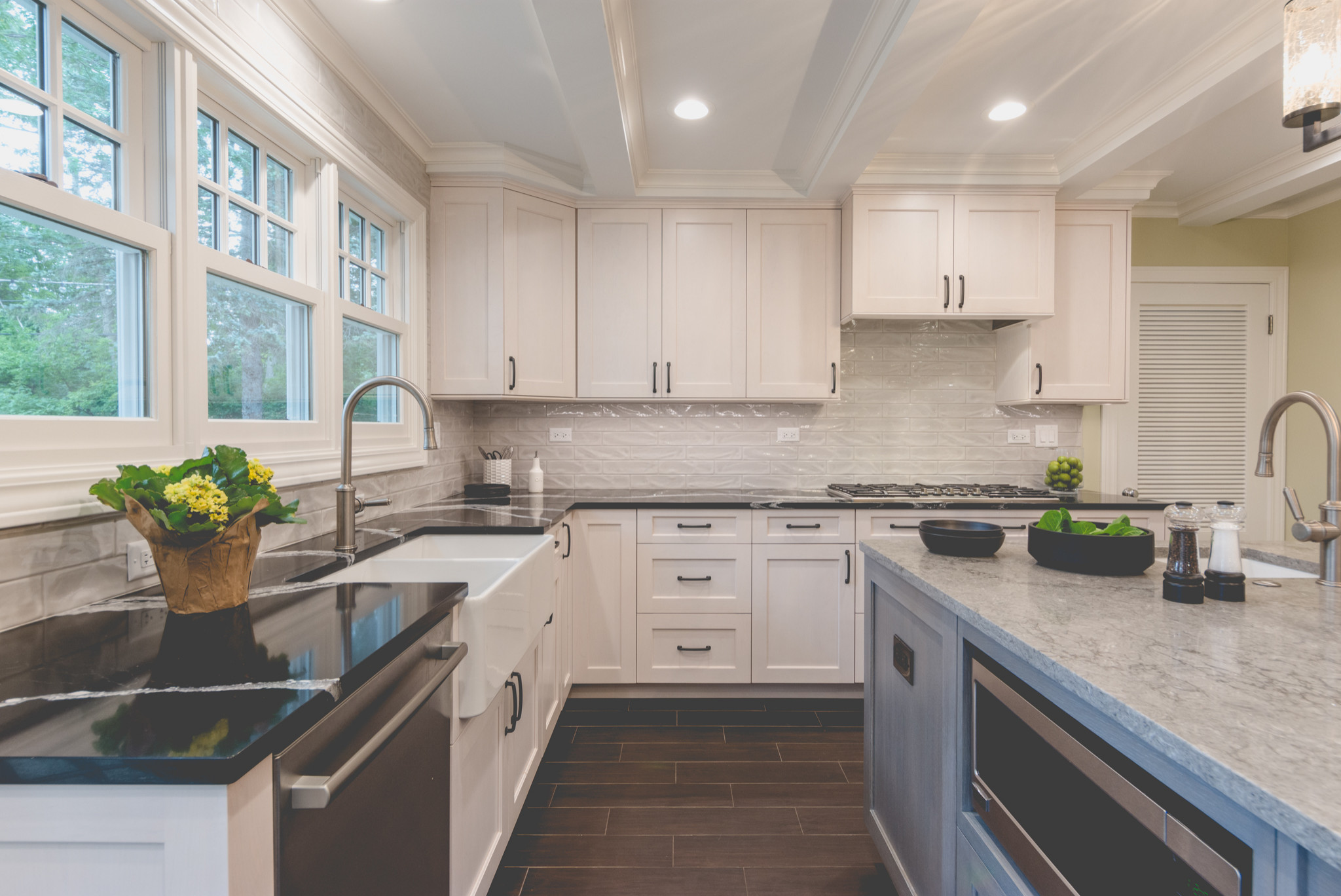 Lake Forest Gray and White Stained Cabinet Kitchen