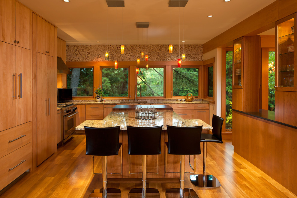 Trendy kitchen photo in New York with granite countertops and flat-panel cabinets