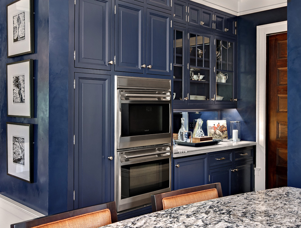 Inspiration for a timeless kitchen remodel in Minneapolis with raised-panel cabinets, blue cabinets and quartz countertops