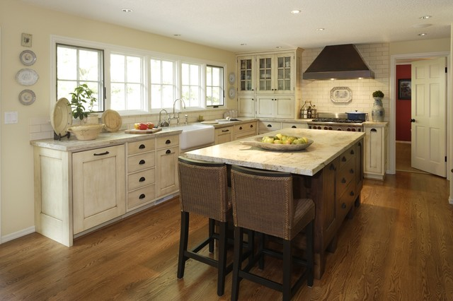 kitchen backsplash cream cabinets. Example of a large country l shaped dark wood floor and brown eat  Glazed Cream Cabinets Houzz