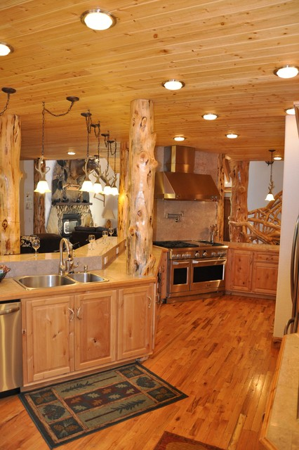Lake tahoe rustic retreat rustic kitchen other metro for Rustic lake house kitchens