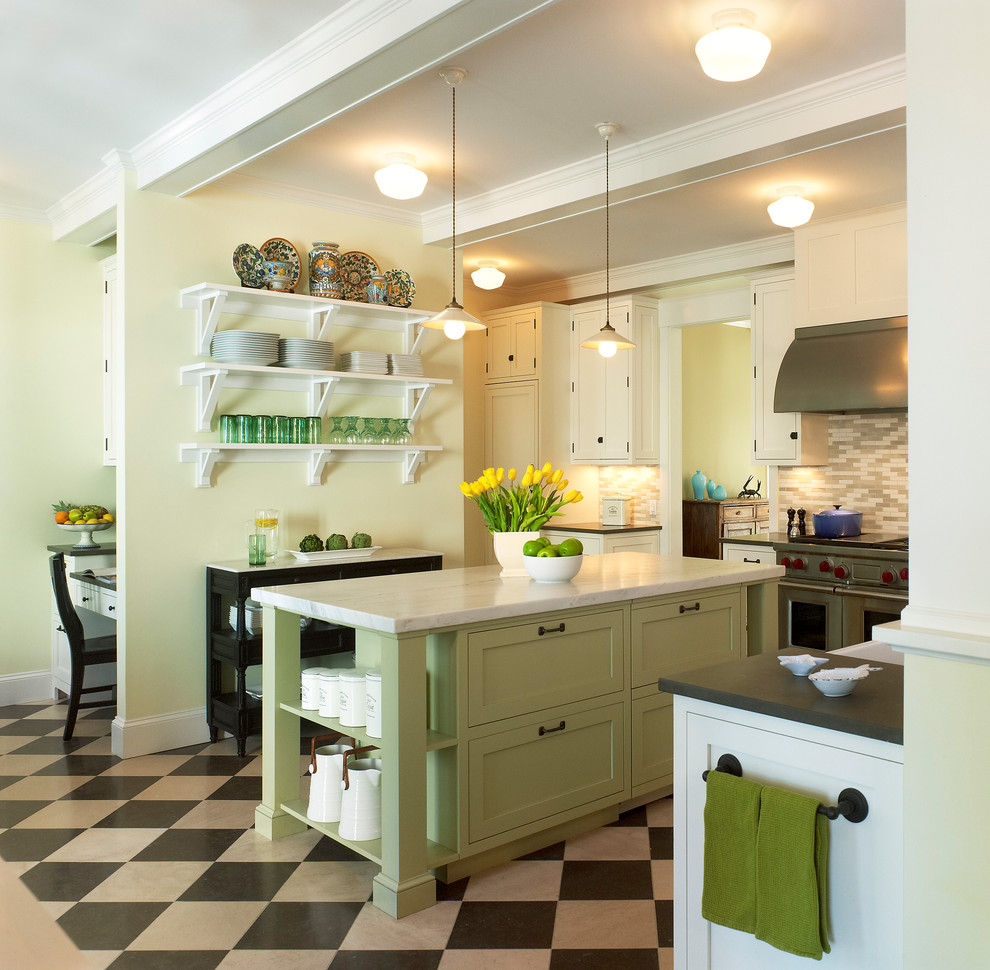 Beach style kitchen photo in DC Metro with open cabinets and green cabinets