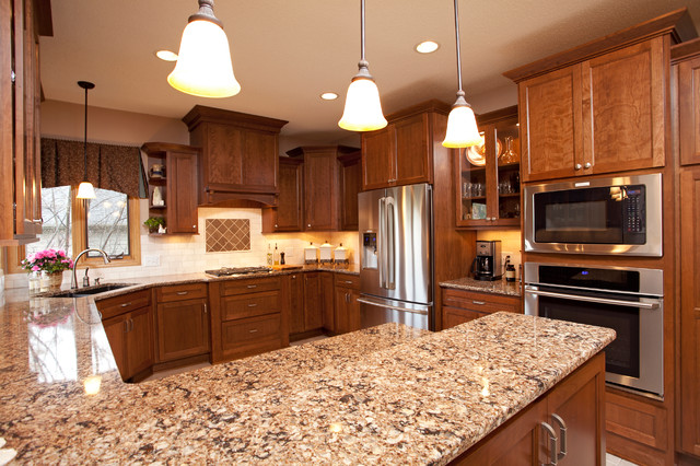 Charming Inspiration For A Timeless Kitchen Remodel In Minneapolis With Medium Tone  Wood Cabinets, Quartz Countertops