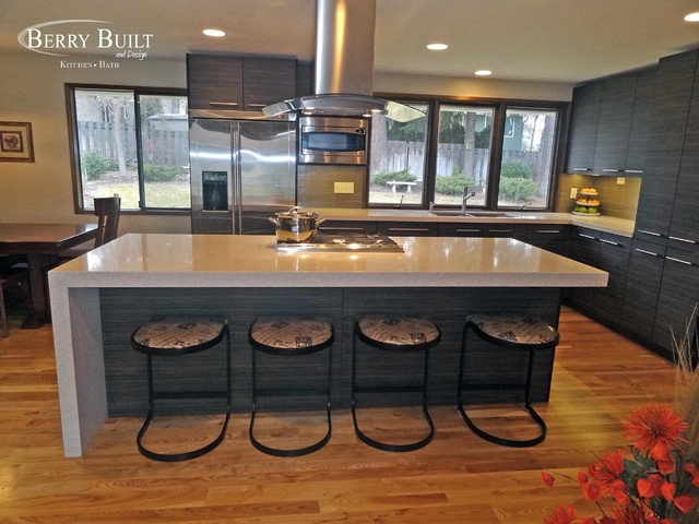 Mid Sized Minimalist Galley Light Wood Floor Eat In Kitchen Photo Seattle With