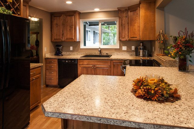 Laminate Countertop Dishwasher : Laminate Countertops, Black Appliances, Birch Cabinets - Craftsman ...