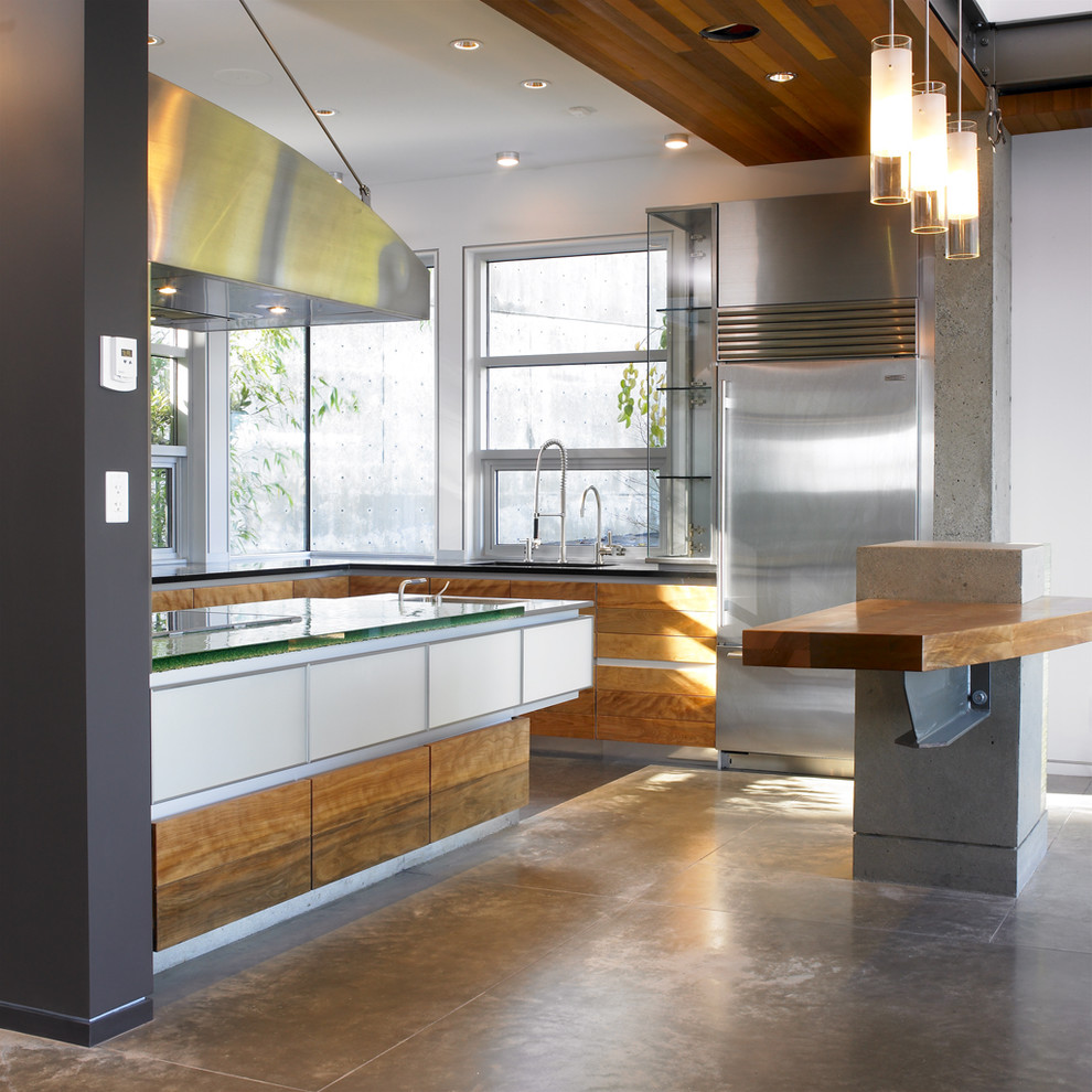 Kitchen - contemporary kitchen idea in Vancouver with glass countertops and stainless steel appliances