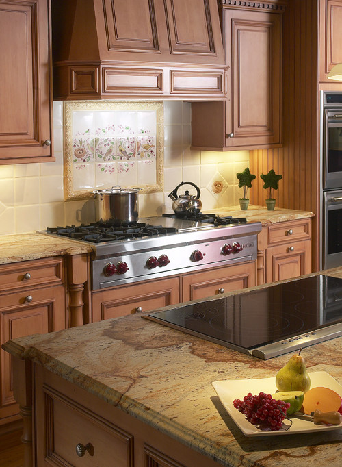 What color are the cabinets for Traditional kitchen appliances