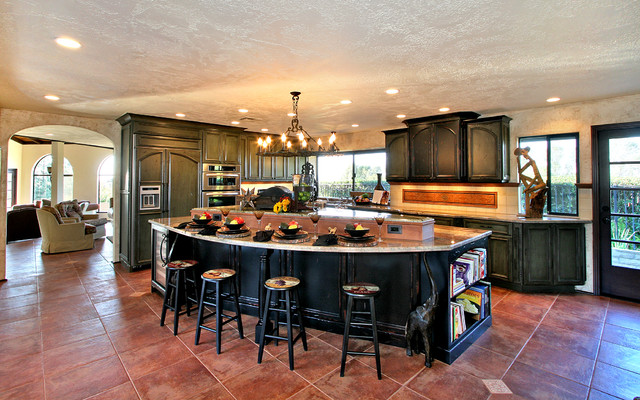Large And Opened Spanish Style Kitchen Traditional