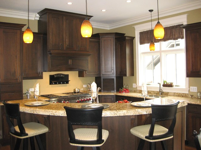 Large Curved Island Traditional Kitchen Chicago By