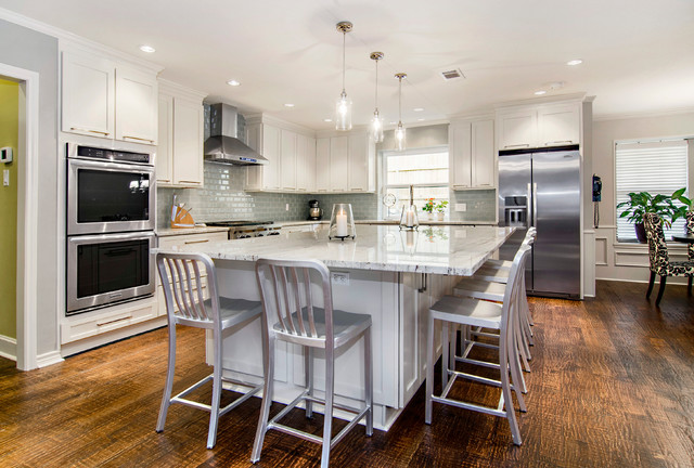 Large Eat In Island Transitional Kitchen Dallas By