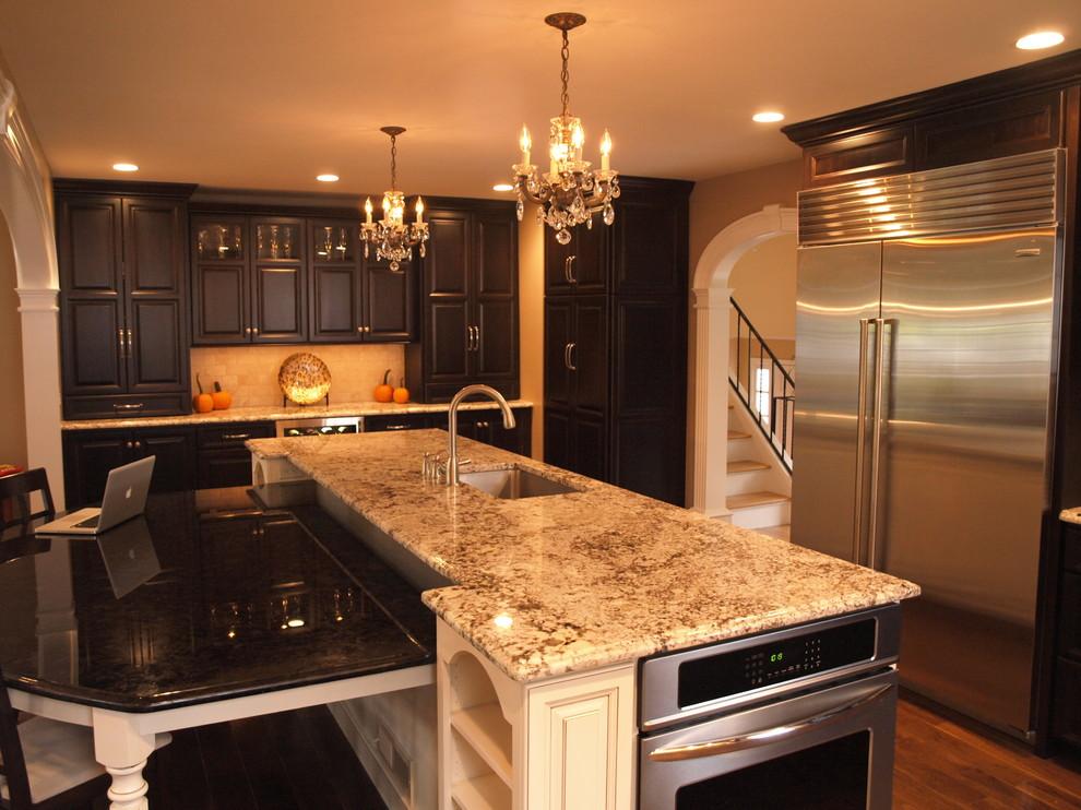 Large Island with Attached Table - Traditional - Kitchen ...