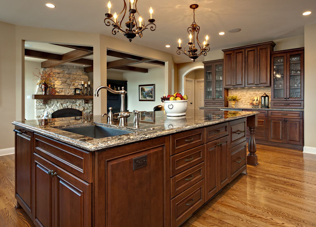 Large elegant medium tone wood floor kitchen photo in Minneapolis with an undermount sink recessed & Large Island with sink and dishwasher - Traditional - Kitchen ...