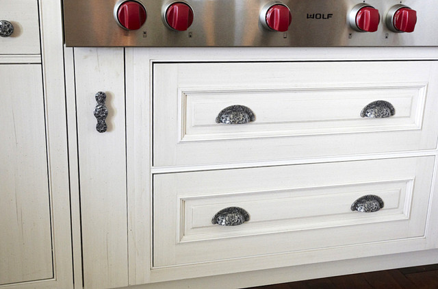 Large Kitchen Drawers with Florid Leaves Bin Pulls - Traditional ...