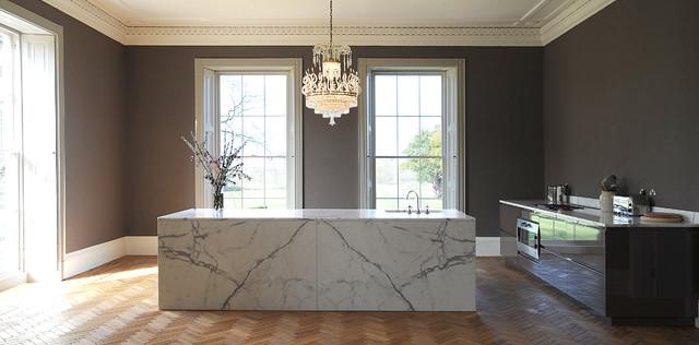 Open Concept Kitchen Large Contemporary Medium Tone Wood Floor Idea In London