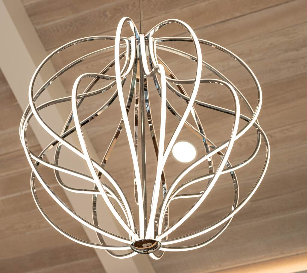 large modern pendant really tops it off!