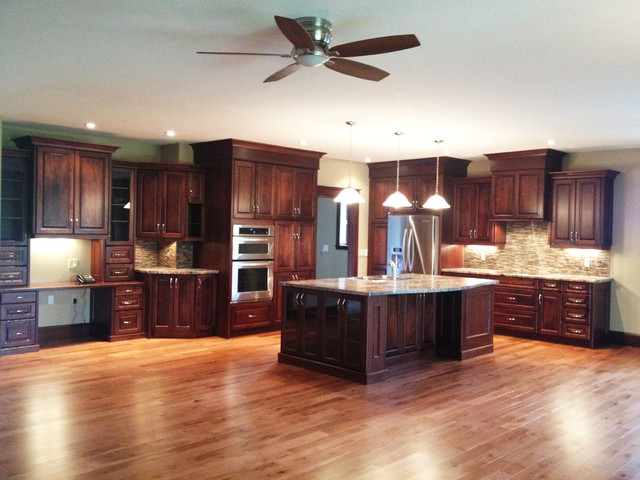 Large open concept cherry kitchen traditional kitchen toronto by hawkins cabinetry and - Open concept kitchen design ...