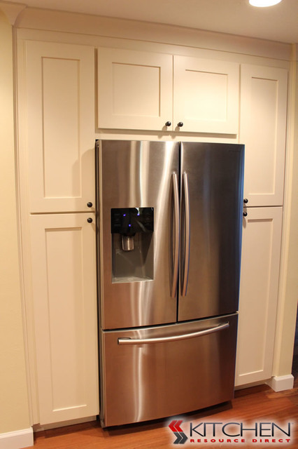 Large Pantry Area Around Refrigerator Transitional Kitchen