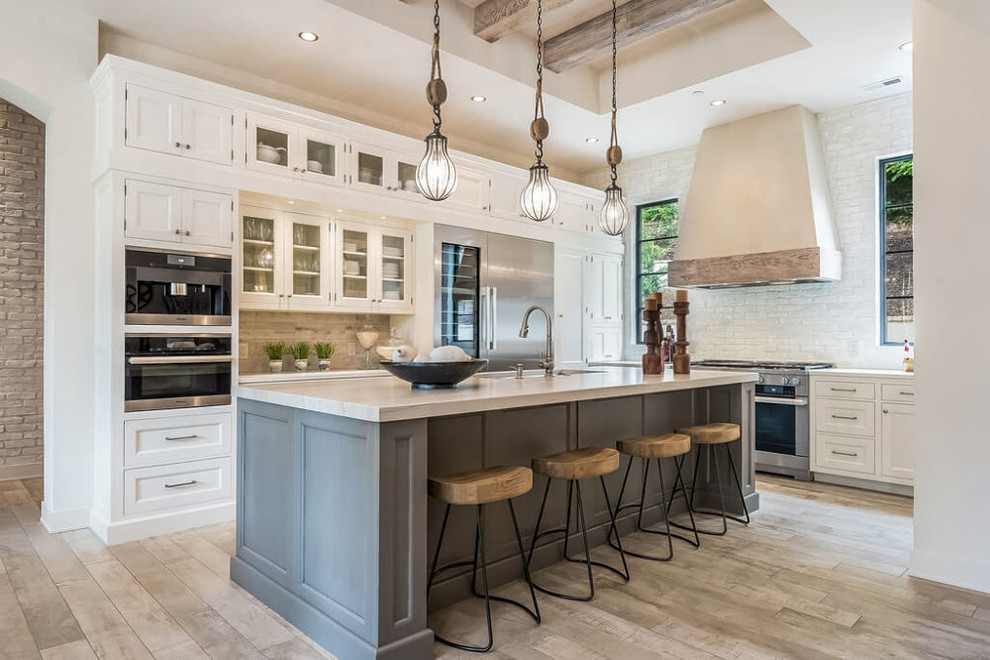 Large Traditional Kitchen with White Cabinets ...