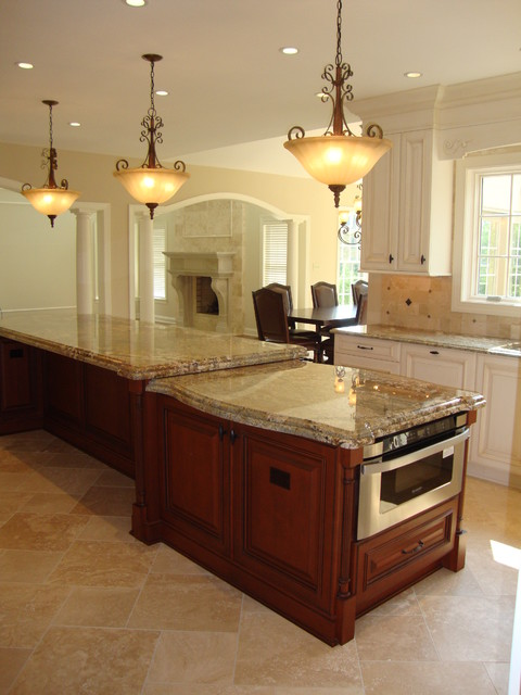 Large 2 level island kitchen traditional kitchen for Two level kitchen island