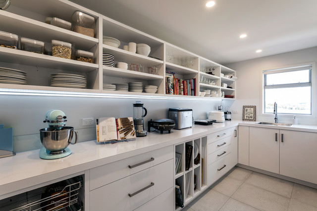 Large Walk In Scullery With Open Shelves And Sink Modern