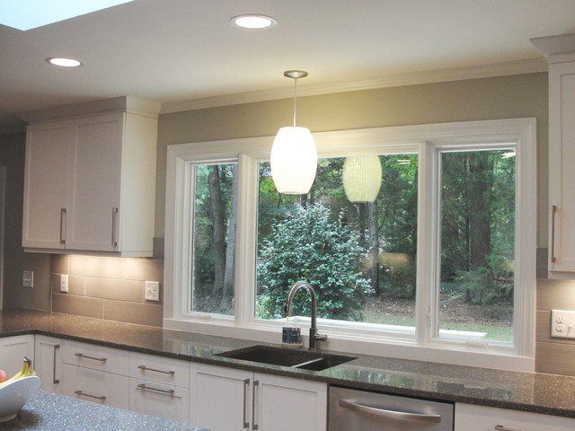 kitchen windows over sink large window sink contemporary kitchen raleigh 6483