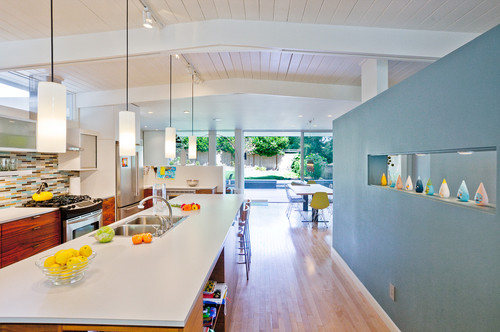 midcentury kitchen Color of the Month: Decorating with Light Blue