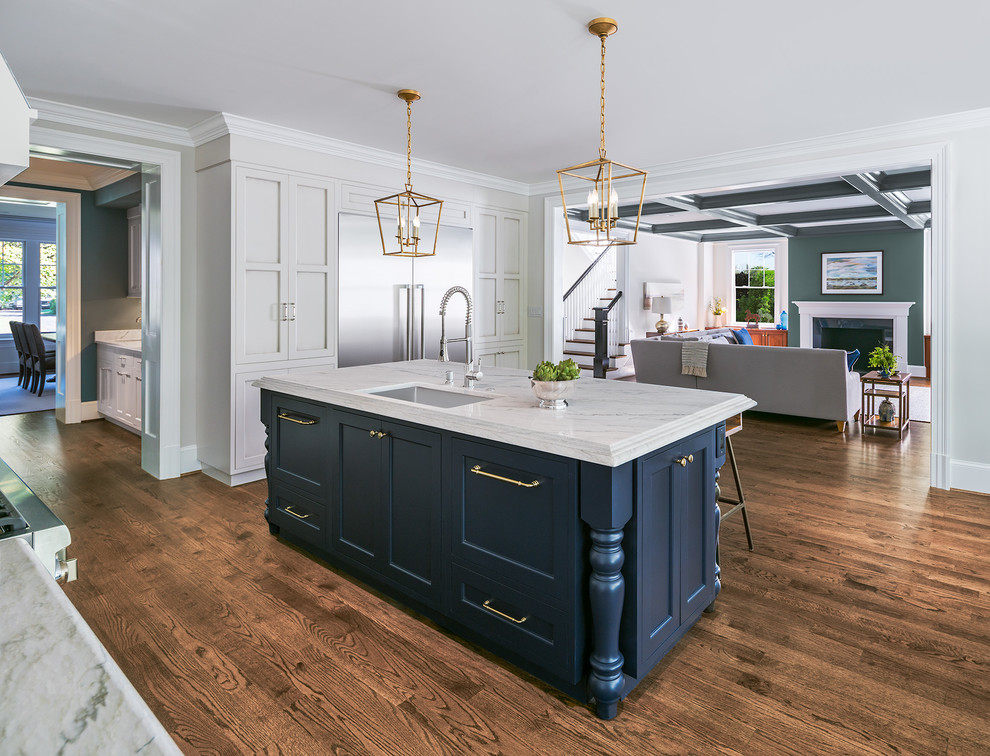 Inspiration for a mid-sized timeless l-shaped dark wood floor and brown floor open concept kitchen remodel in DC Metro with an undermount sink, quartzite countertops, stainless steel appliances, an island, shaker cabinets and blue cabinets