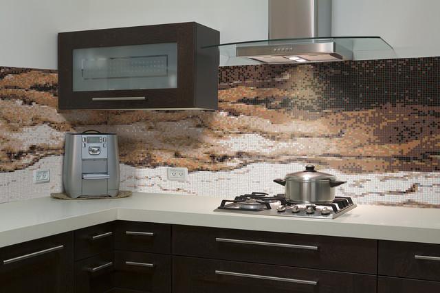 Kitchen Backsplash Contemporary layered kitchen backsplash - contemporary - kitchen - boston -