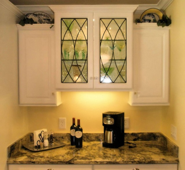 Leaded Cabinet Glass Inserts - Poulos Residence traditional-kitchen