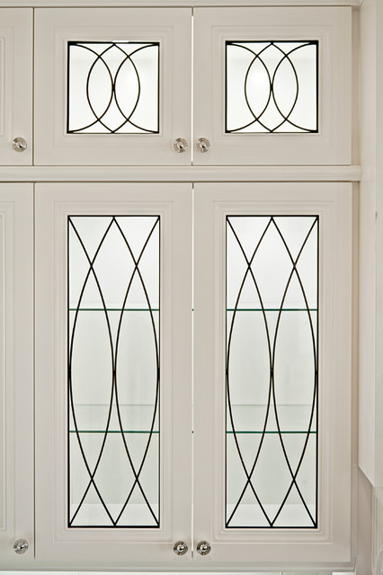 leaded glass inserts and doors designed for kitchens